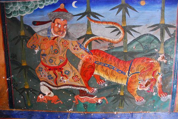 Wall mural Mongol leading the tiger representing supremacy of the Gelugpa sect over their rival red hat sect