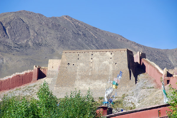 Thangka wall of Pelkor Chöde Monastery used during festivals
