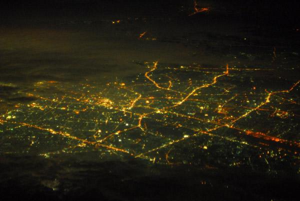 Night aerial of Bangkok, Thailand