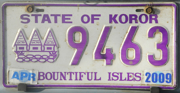 Palau License Plate - State of Koror (purple)