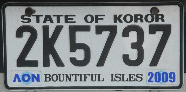 Palau License Plate - State of Koror (black)