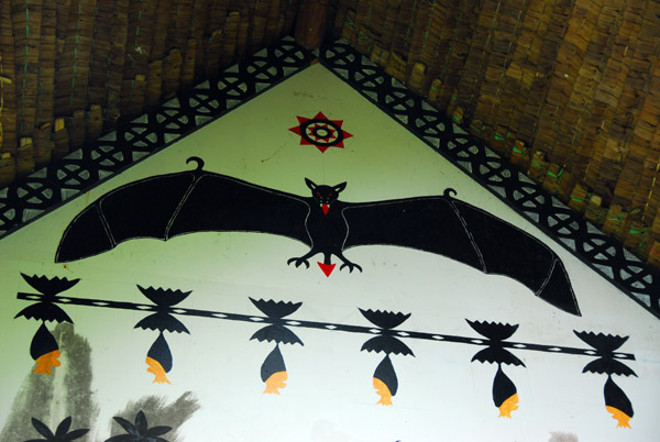 Painting of a Bat on a traditional Palauan painted storyboard