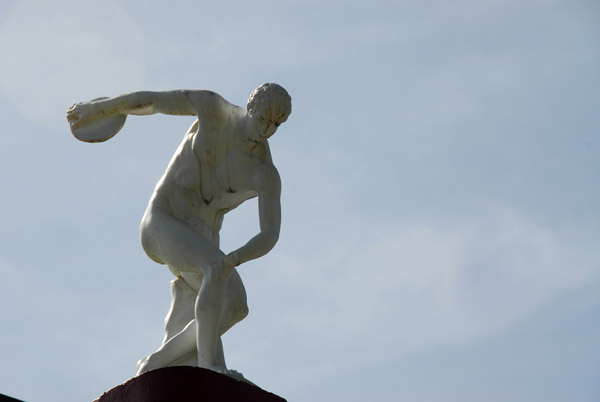 Statue of the Discus Thrower at the Clan House in Melekeok