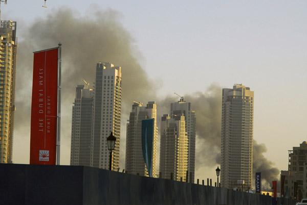 Smoke behind the Burj Dubai residences