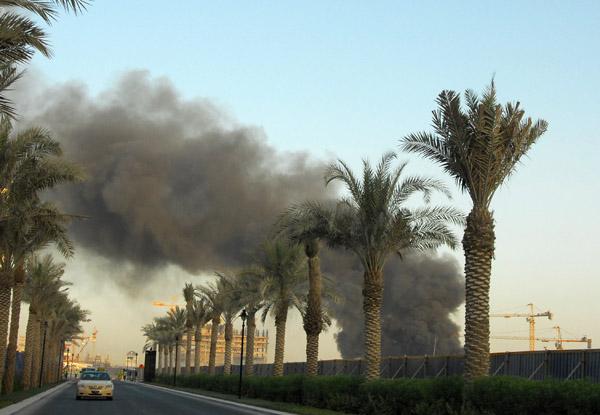 Business Bay fire seen from Downtown Dubai