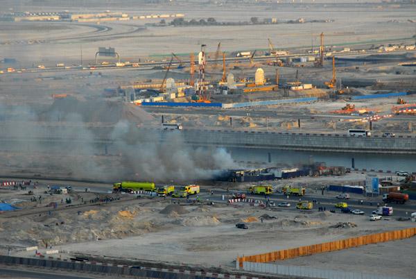 Fire site seen from Burj Dubai Residences
