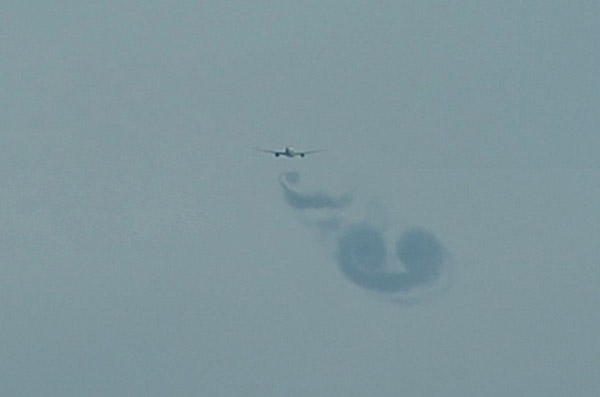 Wake vortices of an A330 flying over Indonesia