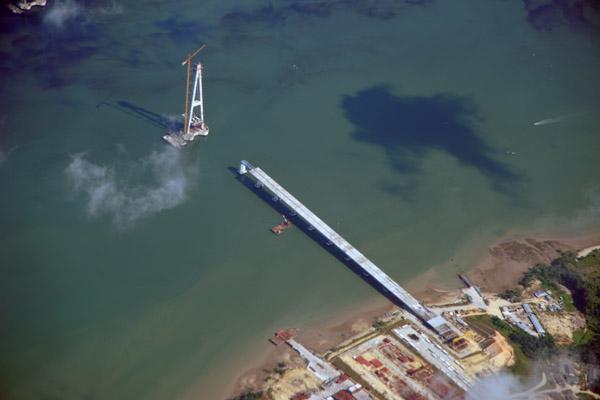 Tanjung Penyabong side of the Sungai Johor Bridge, Malaysia
