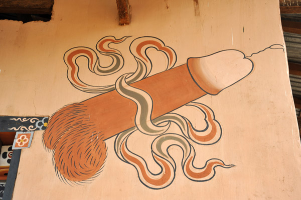The phallus paintings in Bhutan have their origin at the nearby Chimi Lhakhang, the Temple of the Divine Madman