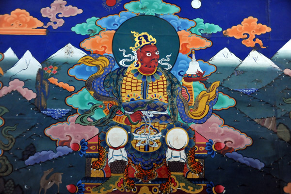 Mural - Chenmizang, Guardian King of the West, red with chosen and snake