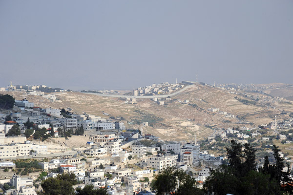 West Bank Separation Wall at Abu Dis seen from the Walls of Jerusalem near Mount Zion