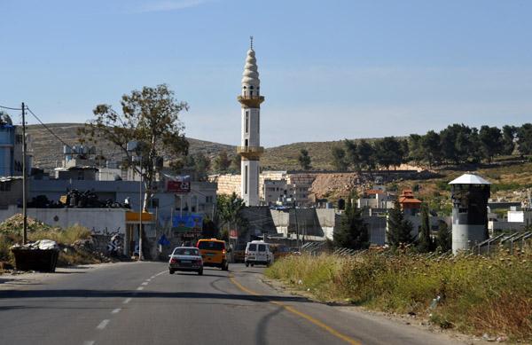 A minaret rising from the Palestinian town of Muaskar alArub