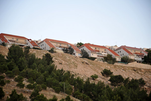 Israeli settlement of Keley Shir, part of Maale Adumim, on a ridge above Highway 1 from the Dead Sea to Jerusalem