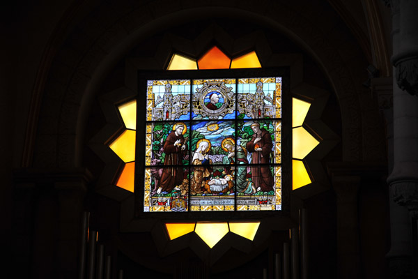 Stained glass window of the Nativity, Belgian - 1926, Church of St. Catherine