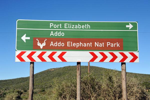 Sign for Addo Elephant National Park