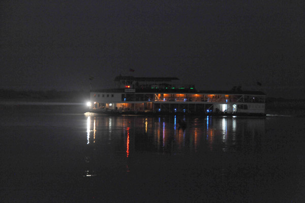 The luxury cruise ship RV Pandaw II getting an early southbound start as well