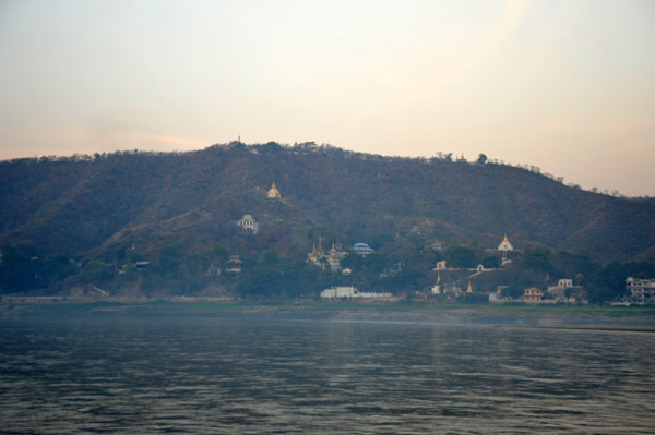 Pagoda-covered Sagaing Hills just before sunrise