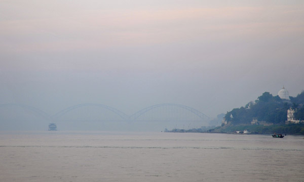 The New Sagaing Bridge emerges from the haze