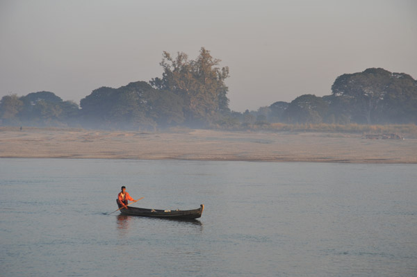 Small boat on the Irrawaddy River