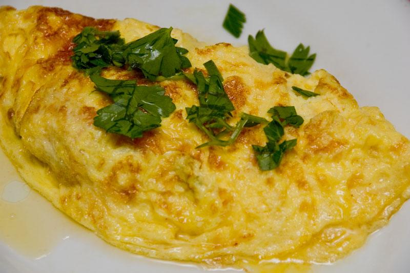 omelet with morels hidden inside