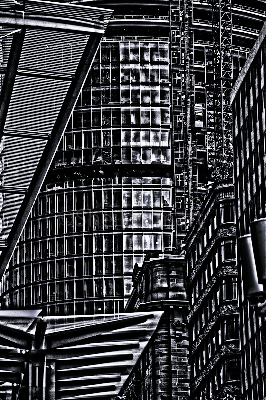 City buildings in monochrome