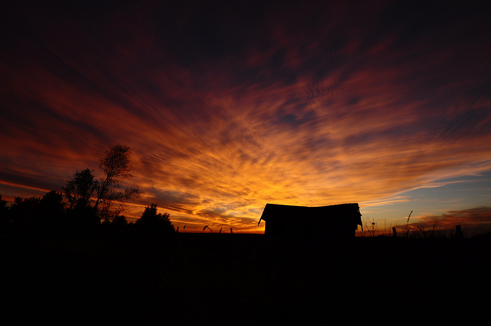 Small Barn with Sunset