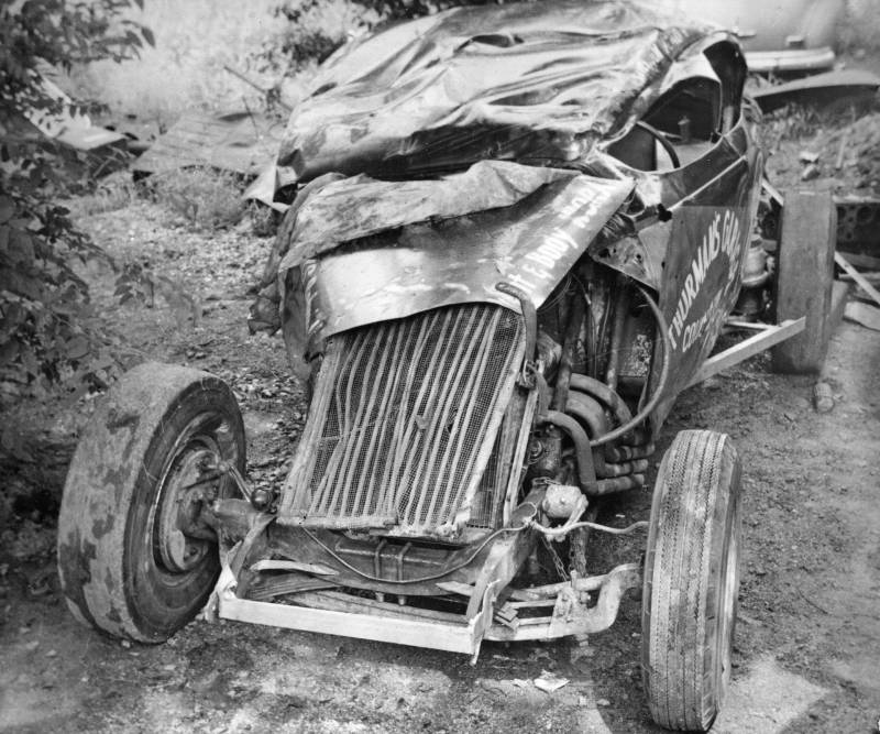 1958 Fairgrounds after crash. Malcolm Brady 88