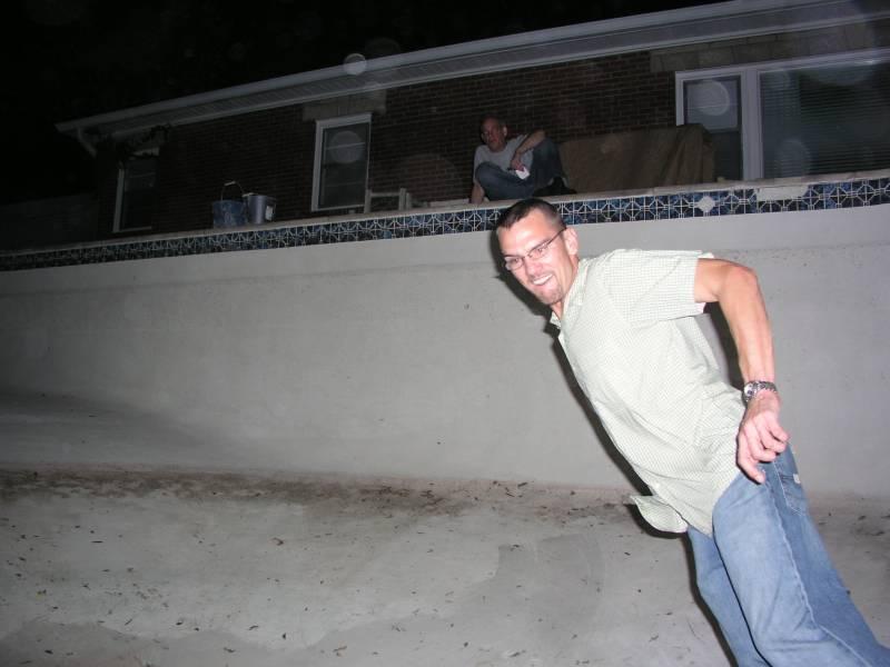 Steve Cavanah Jr skateboarding in Toms swimming pool 2005