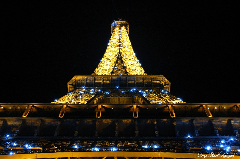 Blue lights on Eiffel Tower