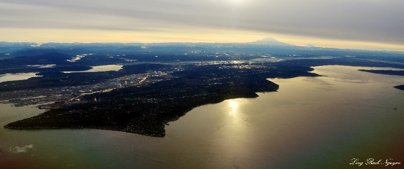 West Seattle, Duwamish river, Kent Valley, Puget Sound, Mt Rainier and Adams