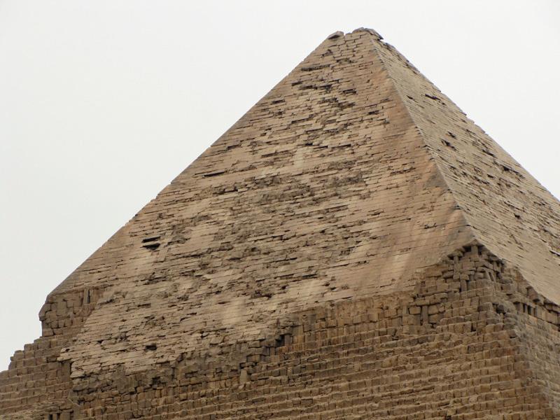 Closer shot of limestone casing cap of Chefren (Khefre)