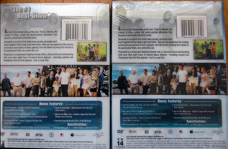 My Season 1 vs fake Season 1 back cover