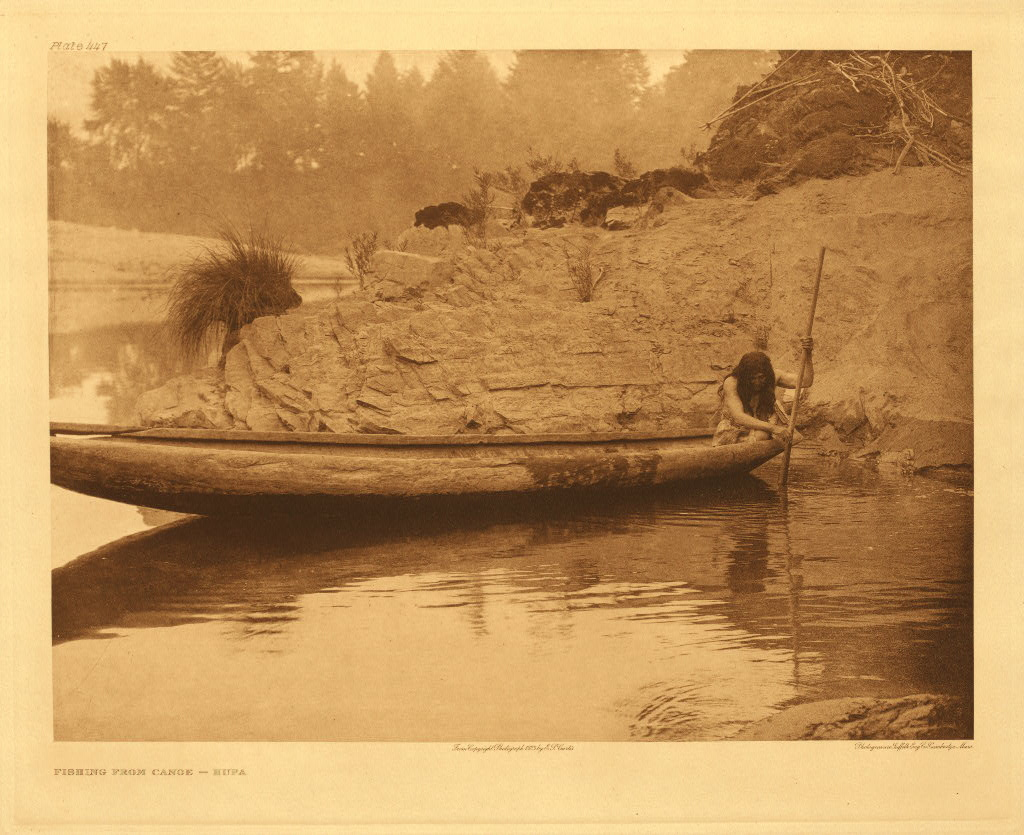 Fishing from canoe - Hupa