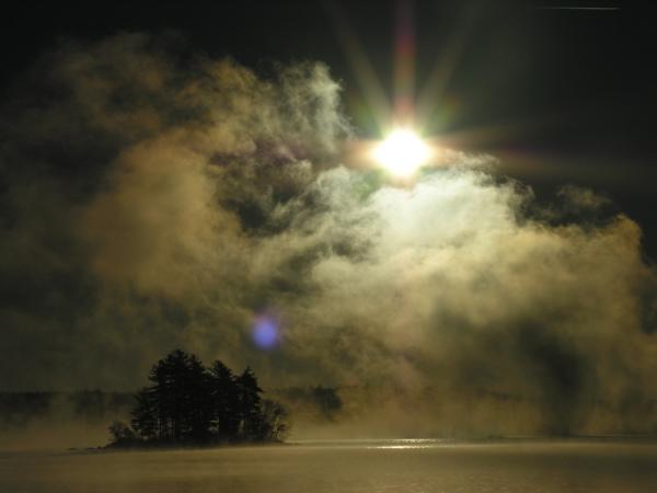 6839.4158jpg Sea smoke over thompson lake ottisfield maine