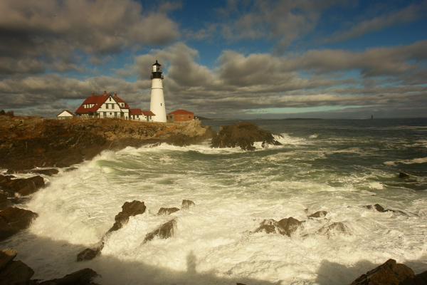 DSC09166.jpg PORTLAND HEAD LIGHT AFTER THE STORM AND self portrait... also see a fleeting moon at...