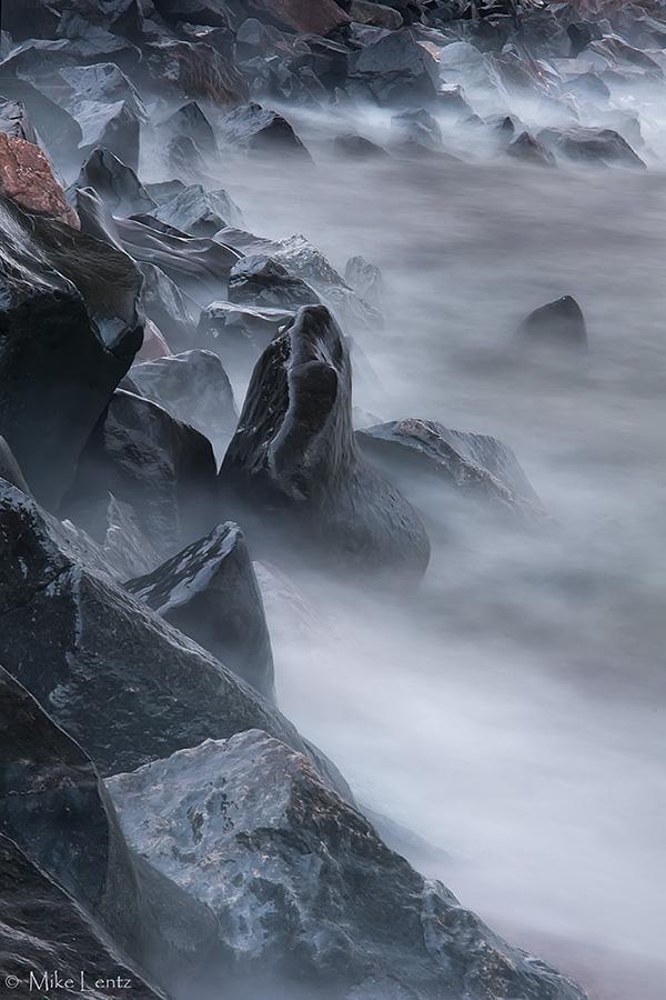 Misty rocks on superior