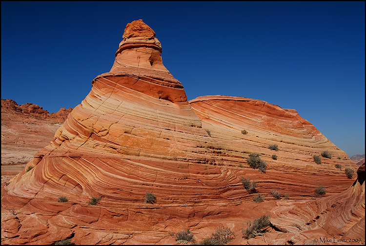 Sandstone teepees  in the lower wave rock structure
