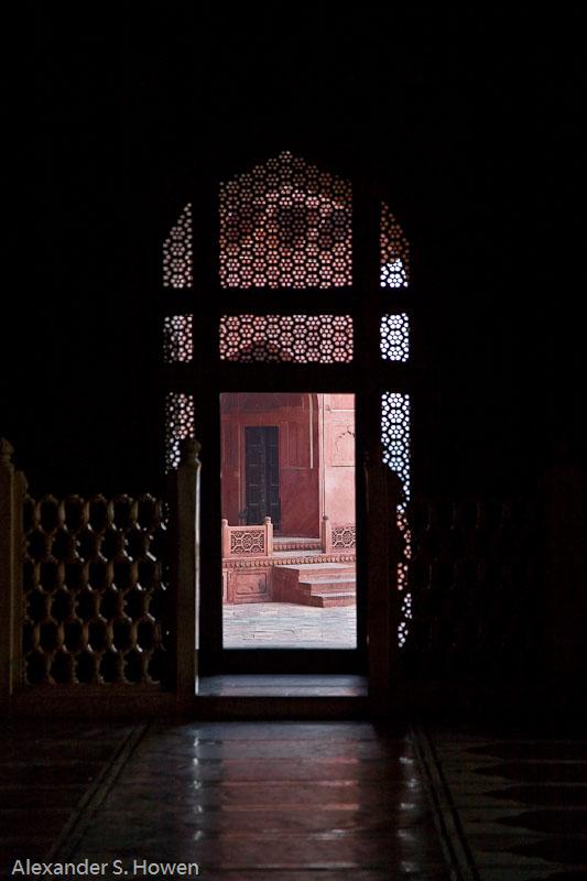 Looking out from Masjid of Taj Mahal