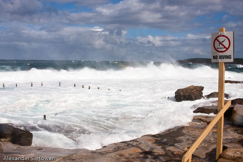Mahon Pool in bad weather