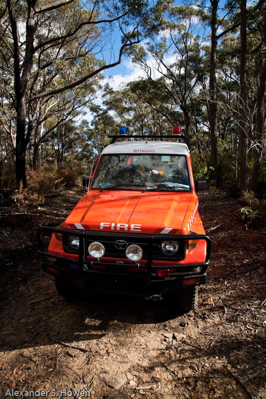 Mittagong Brigade personnel carrier on a fire trail