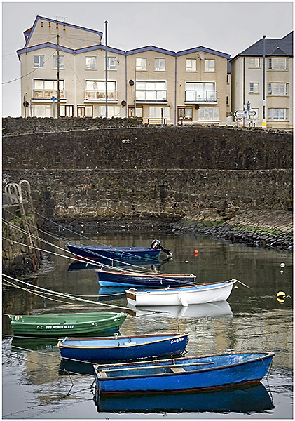 Portrush harbour and houses