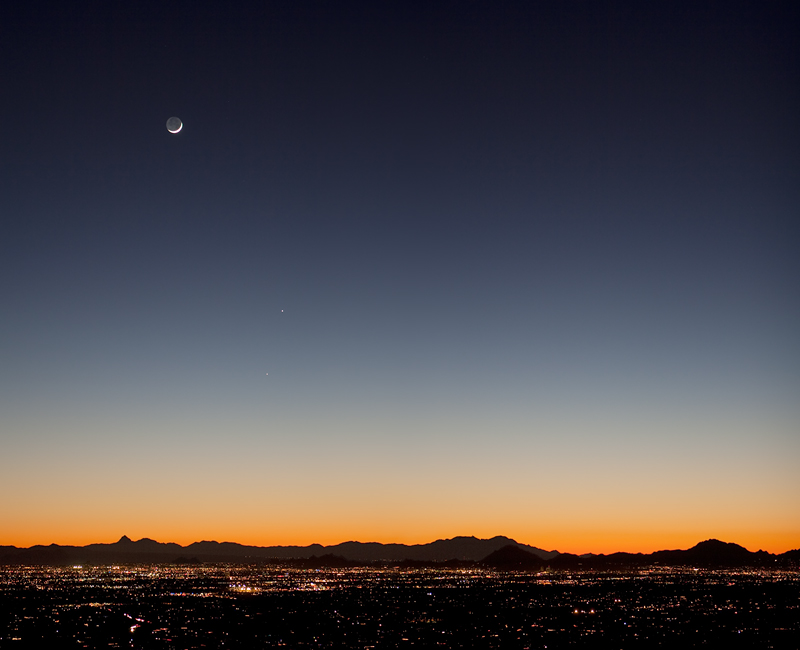 Moon, Jupiter, and Mercury over Tucson