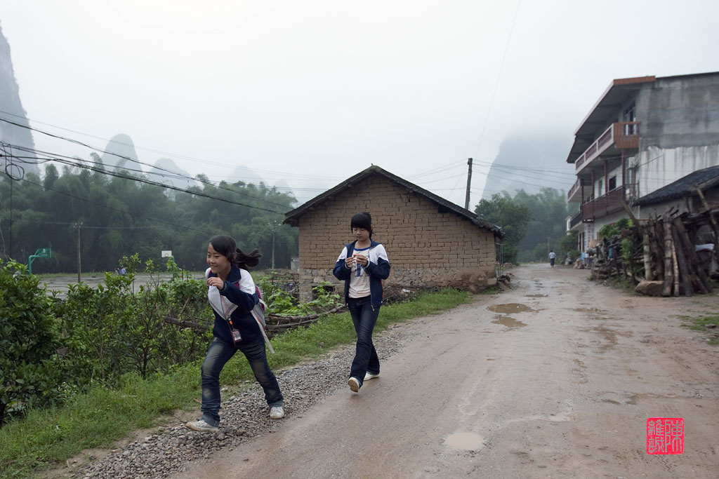 Going to school in the morning in Xingping.