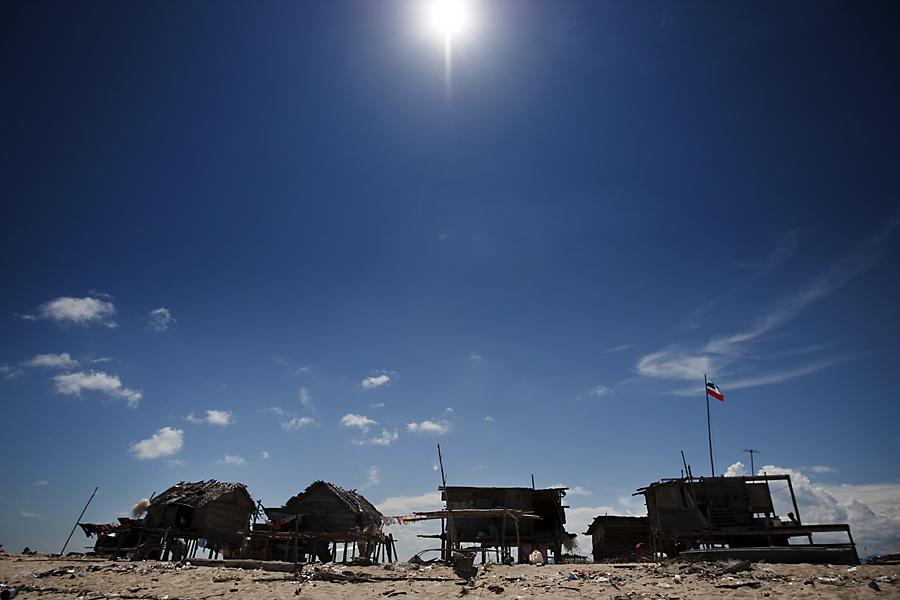 Destitute homes on Gusungan Island