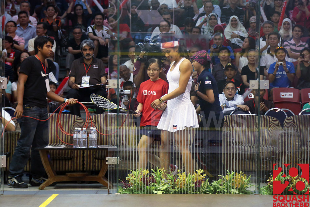 Womens final: Nicol David making her entrance.
