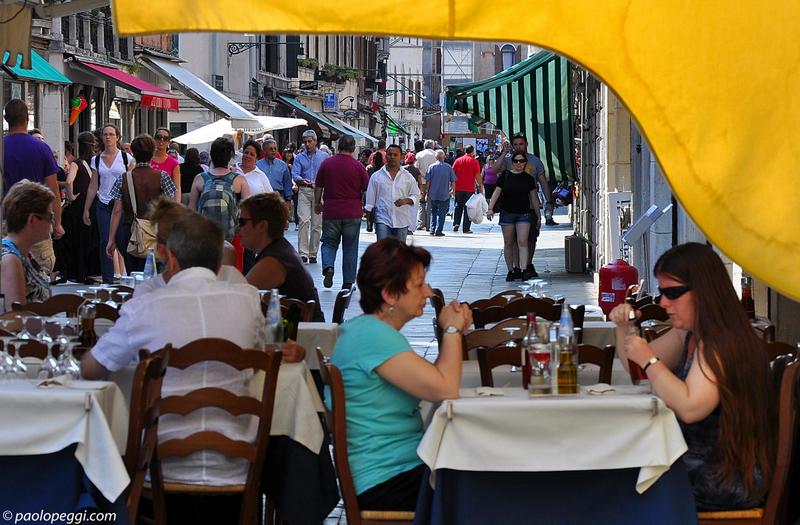 People eating,people walking....