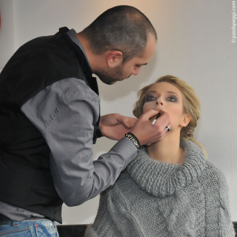 Backstage: The Make-up artist Marco and Federica  before the photo session