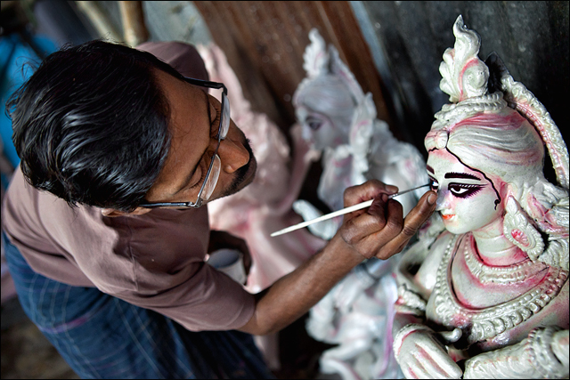 In the face of Goddes Sarasvathi