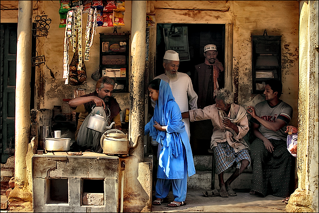 A cozy tea stall in the morning