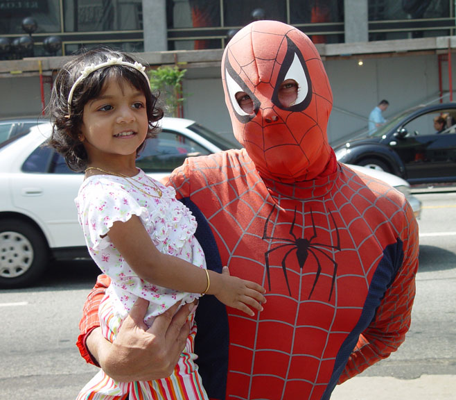 Uma and Spiderman in front of Manns Chinese Theatre